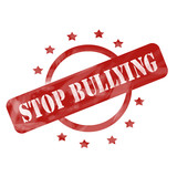 Red Weathered Stop Bullying Stamp Circle and Stars design poster