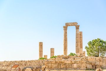 Temple of Hercules in Amman Citadel, Al-Qasr site, Jordan.
