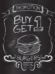 Buy one Get one Burgers on blackboard