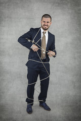 businessman trying to release