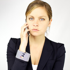 Angry business woman on the phone