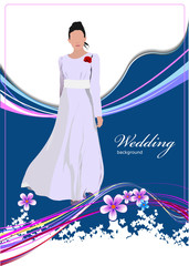 Beautiful bride in white gown on wedding background. Vector illu