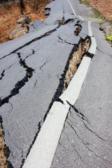 broken road by an earthquake in Chiang Rai, thailand