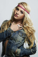 fashion beautiful girl in jeans.beauty blond woman. hippie style