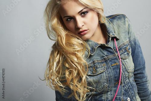 fashionable beautiful girl in jeans.denim jeans wear.blond woman