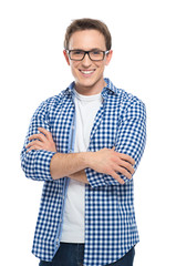 Happy Young Man With Glasses