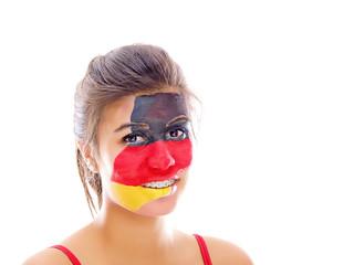 mädchen mit deutsche fahne im gesicht