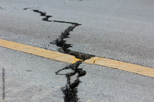 Leinwanddruck Bild broken road by an earthquake in Chiang Rai, thailand