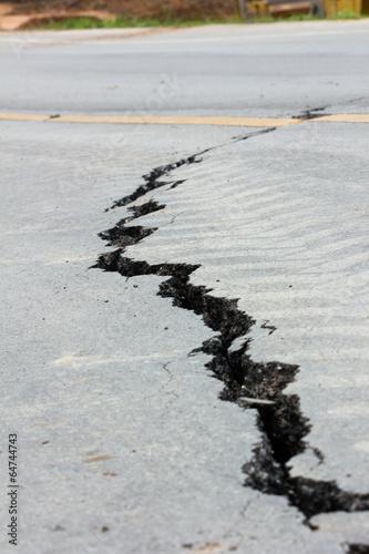 broken road by an earthquake in Chiang Rai, thailand
