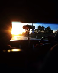view of sunset from car