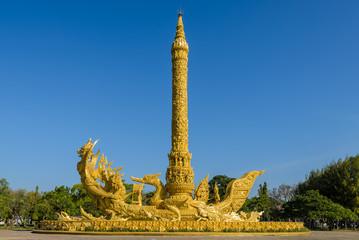 Golden replica of a wax sculpture in  Ubon Ratchathani, Thailand