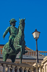 Statue of emperor Franz Joseph of Austria on a horse at Vienna