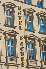 Facade of famous Saher hotel in neoclassic style at Vienna