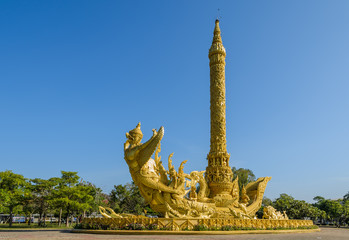 Golden replica of a candle sculpture in  Ubon Ratchathani, Thail