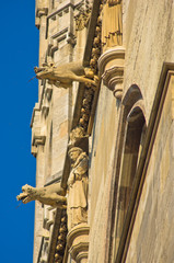 Monks and gargoyles, detail on saint Stephen cathedral at Vienna