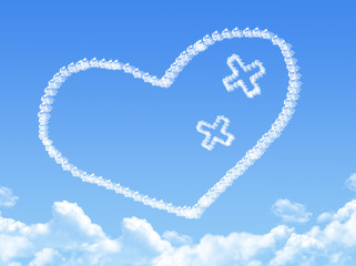 Cloud shaped as Heart With Plaster
