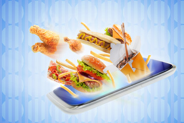 Food flying out of a touch screen
