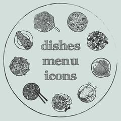 Dishes menu hand-drawn icon set
