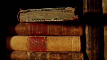 Ancient books, panning left to right