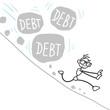 Stickman, debt, landslide, rocks, burden, finances