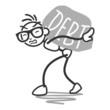 Stickman carrying huge rock labeled debt