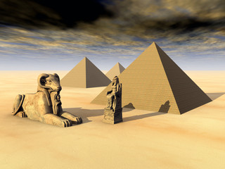 Egyptian Pyramids and Statues