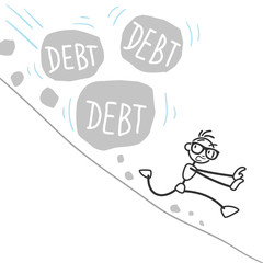 Stickman, debt, landslide, rocks, burden, finances