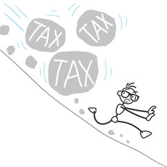 Stickman, tax, escaping, landslide, rocks, burden