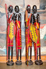 African handcraft dark wood carved people figures