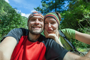 Hikers are posing in front of camera