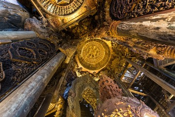 Interior of a wooden Buddhist temple