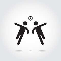 Soccer players icon (Hit a ball with the head). Vector