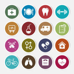 Health sticker icon set. Vector