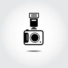 Camera with Flash icon. Vector