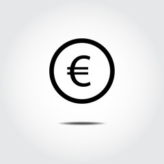 Money coin icon. EU Euro. Vector Illustration