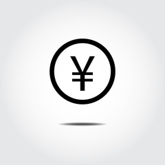 Money coin icon. Japan Yen. Vector