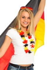 Weiblicher Fussball-Fan mit Deutschland-Fahne