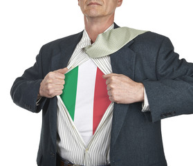 Businessman showing Italy flag superhero suit underneath his shi