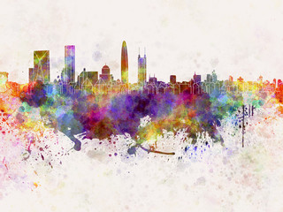 Shenzhen skyline in watercolor background