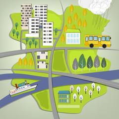 City landscape map