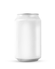 White soda can on white background
