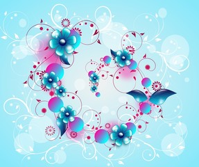 Blue floral spiral