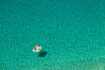 Top view of the beautiful turquoise sea .Calabria - Italy .