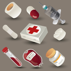 medical accessories (icons) set