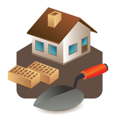 home , bricks and trowel tool