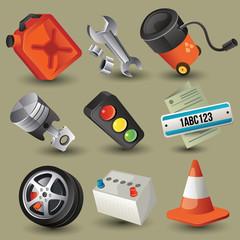 car tools , parts , accessories (icons) set
