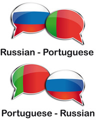 Russian - Portuguese translator clouds