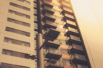 Apartment block at sunset
