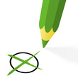 Choice: green pencil with cross
