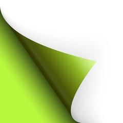 Papier / Seite umschlagen unten links grün